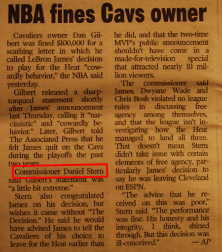 Daniel Stern acting as David Stern fines Daniel Gilbert