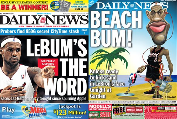 NY Daily News honors Lebron James
