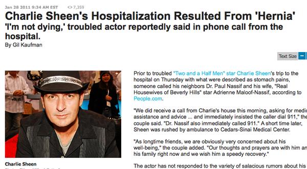 Charlie Sheen hospitalized