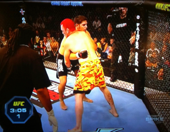MMA fighter wearing Jams shorts