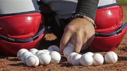 Mini baseballs at spring training