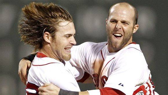 Josh Reddick and Dustin Pedroia happy dance