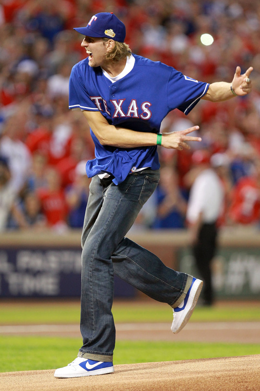 Dirk Nowitzki ceremonial first pitch