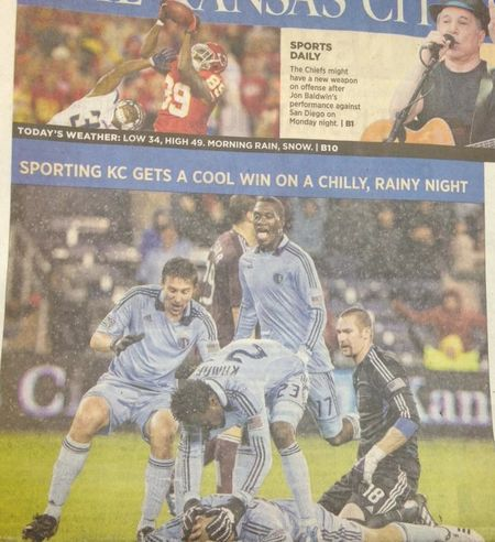 Sporting Kansas City celebrates victory with a group orgy