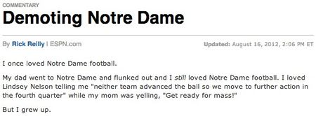 Rick Reilly Notre Dame