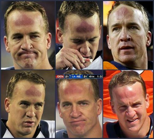 Peyton Manning forhead hickey collage